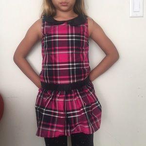 Gymboree girls pink and back plaid dress